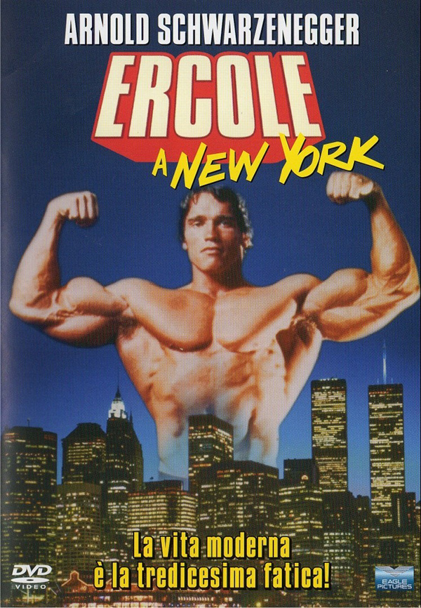 Hercules of New York movie poster shows Arnold Schwarzenegger flexing his muscles over the New York skyline