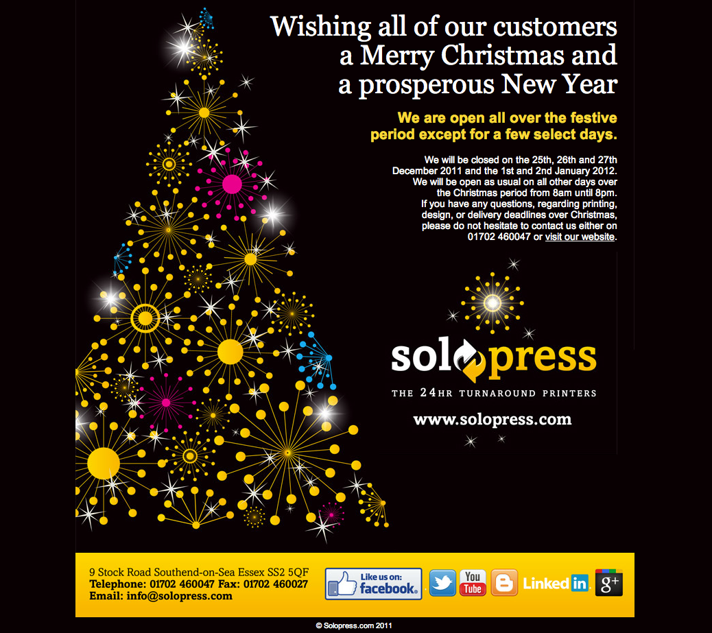 solopress printers merry christmas and new year greetings card for our customers