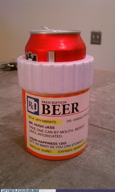 Beer can and pill bottle packaging combo in the Solopress Funny Friday blog