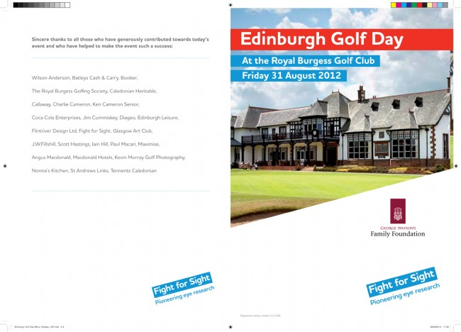 Solopress printed these 350gsm gloss A4 flyers for Edinburgh Golf Day