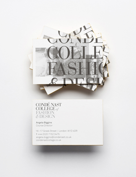 Conde Nast business card for Fashion Design College