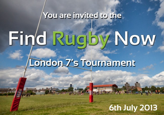 Find Rugby Now London 7s tournament leaflet front