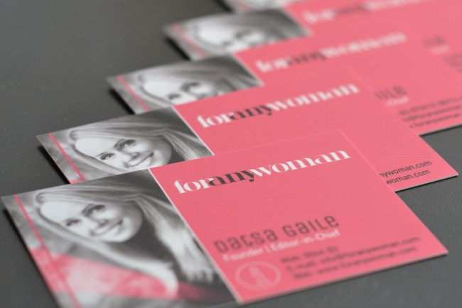 For Any Woman business cards close-up