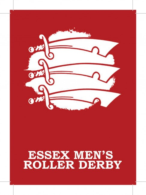 Poster for Essex Men's Roller Derby has a red background and the Essex emblem (3 swords)