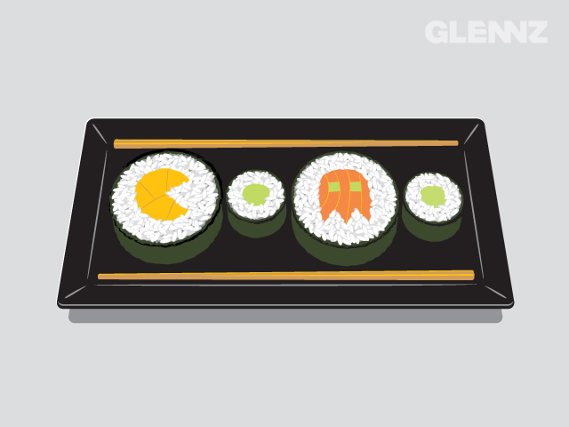 Arcade t-shirt print design with sushi pacman and ghost