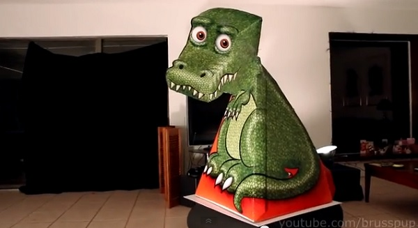 Brusspup papercraft dinosaur optical illusion