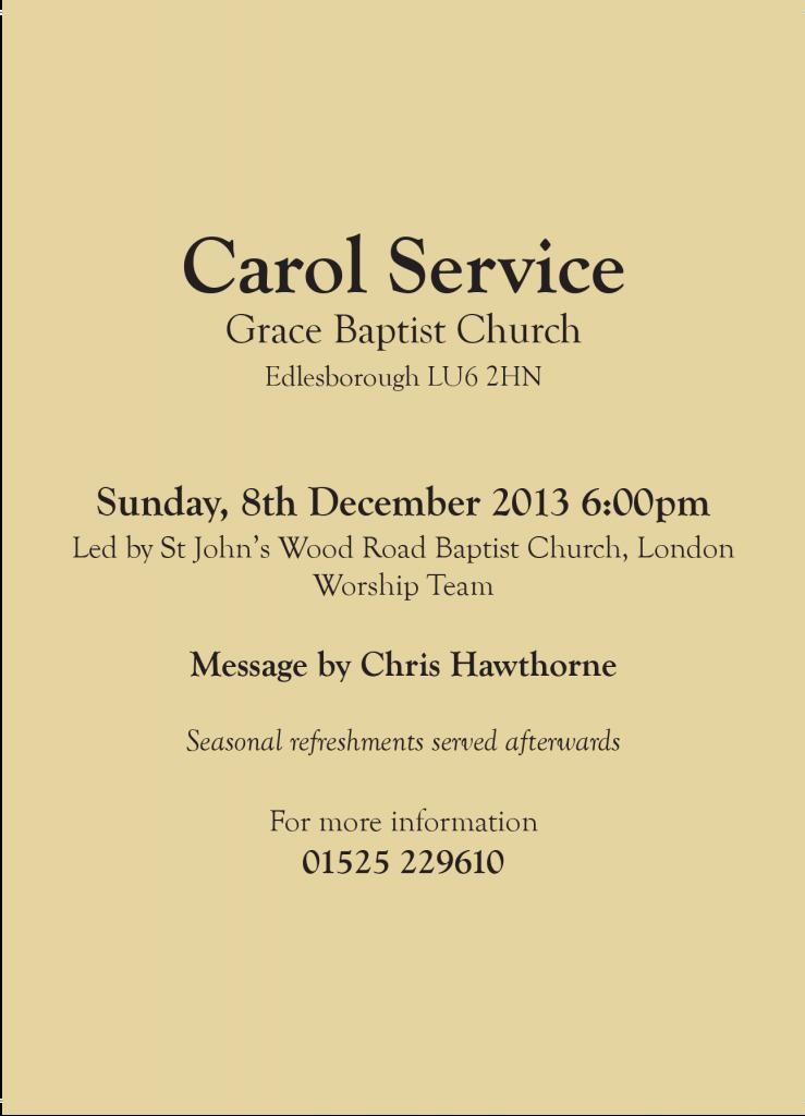 Grace Baptist Church Leaflets - Back