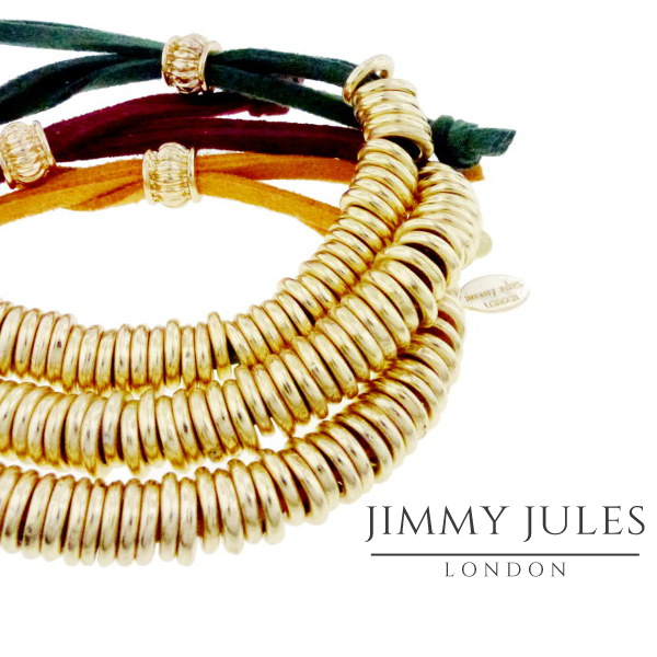 Image of gold banded bracelet with Jimmy Jules London logo