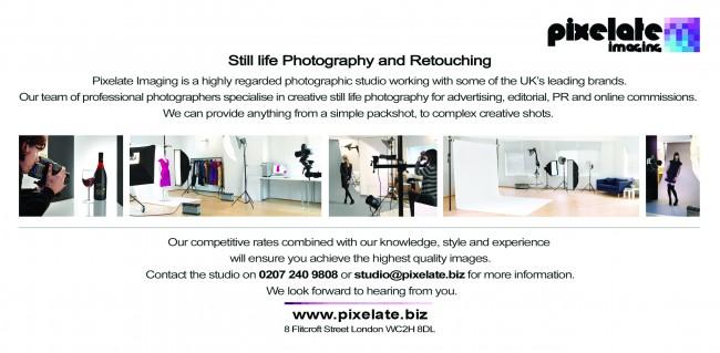 Pixelate Imaging London photography studio flyer back