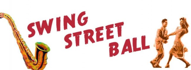 Swing street ball party logo with dancing couple and retro saxophone
