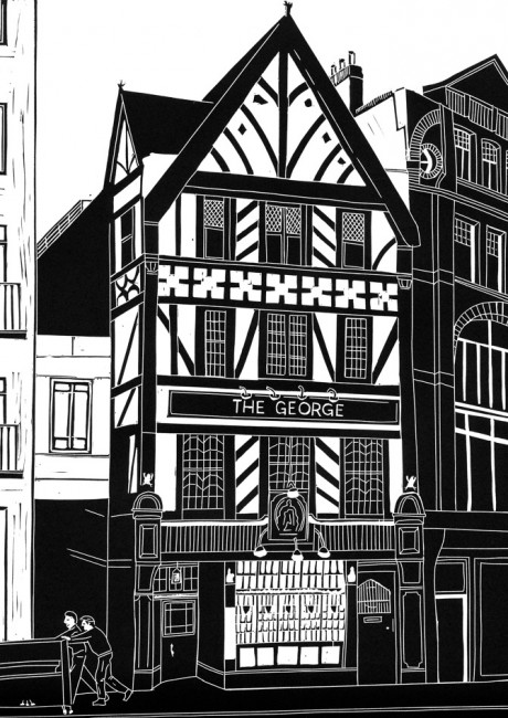 Graphic drawing in black and white of London's Fleet Street