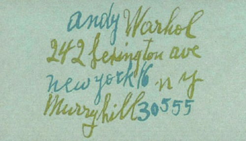 Andy Worhol Business card