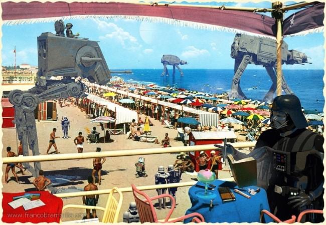 Beach Darth Vader retro postcard