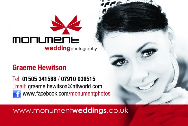 Business card for Monument wedding Photography printed by Solopress