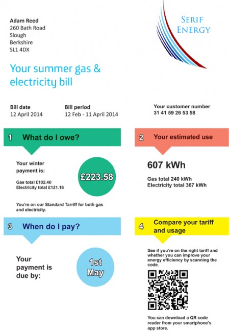 QR Code energy bill example