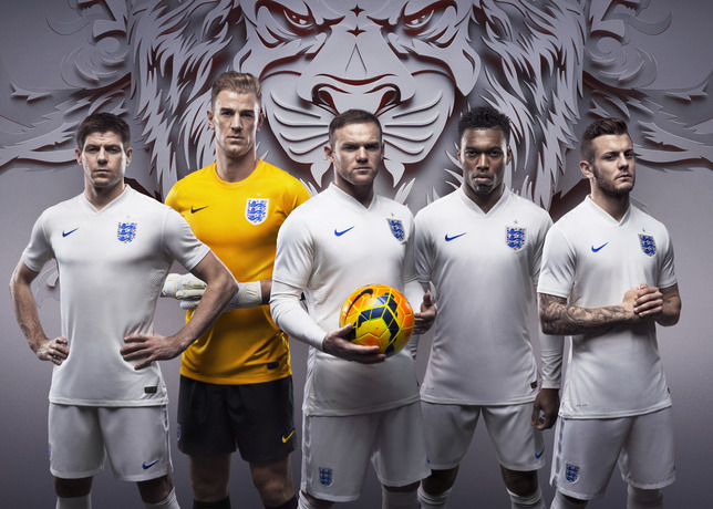 England home football kit for World Cup 2014