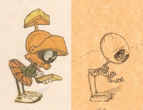 Marvin the Martian 's bizarre inner skeleton