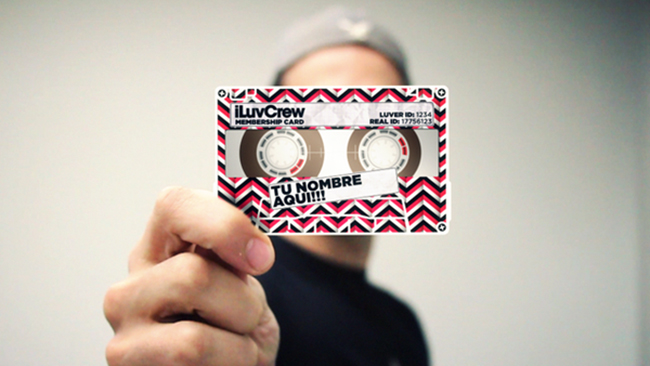 Quirky tape-recorder style membership card for iLuvCrew by Roberto Chriqui