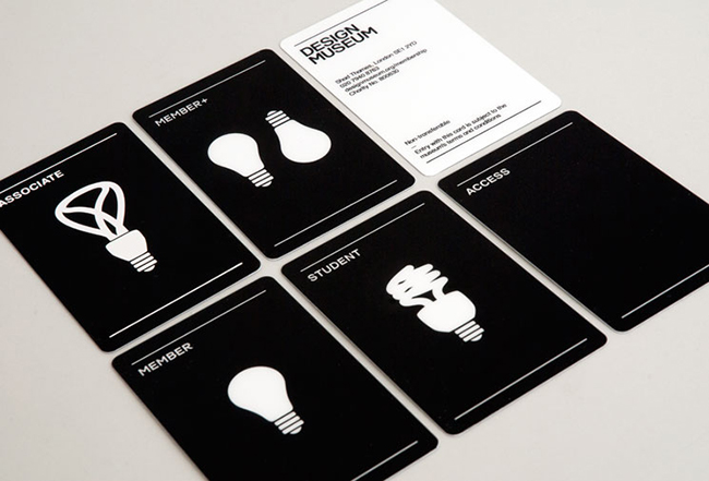 A group of 6 black and white, simplistic membership cards by the Design Museum.