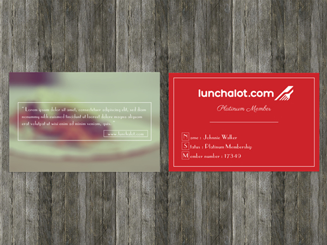 Quirky and retro looking membership card for lunchalot.com by Thammasin Darunkan
