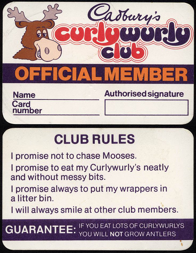 Quirky, childish membership card by Cadbury's Curlywurly in 1982
