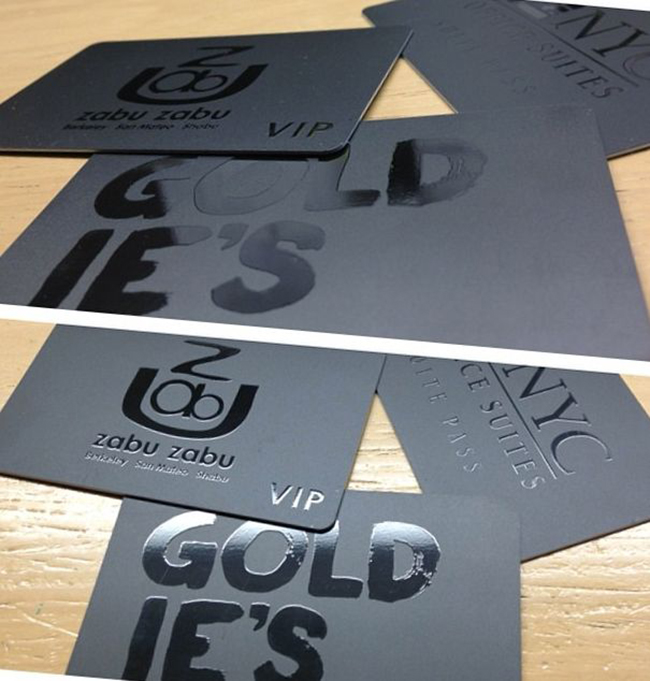 Grey and black membership cards by Goldie's