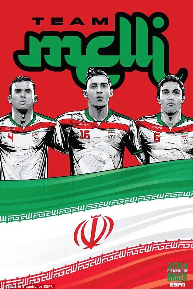 FIFA-World-Cup-2014-Jalai-Hosseini-Charlton-striker-Reza-Ghoochannejhad-captain-Javad-Nekounam-Iran-Football-Soccer-Poster