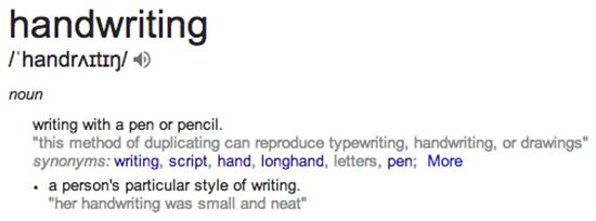 Screenshot taken from Google Search 'definition of handwriting'
