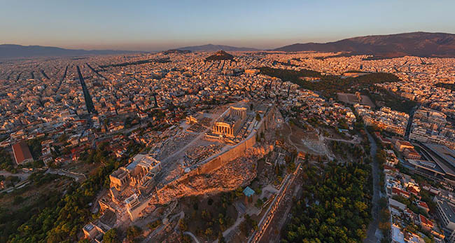 Beautiful sunrise view of Athens in Greece