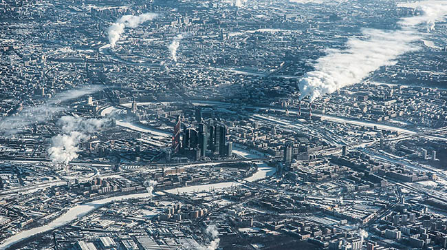 Up high photograph of Moscow taken from a plane
