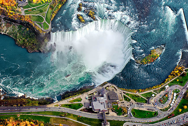 Dramatic bird's eye view photograph of famous waterfall Niagara Falls in Canada