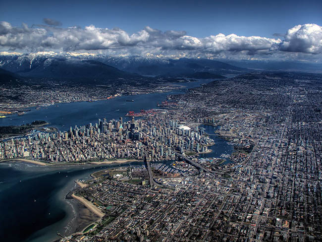 An elongated, bird's eye view of Vancouver city in Canada