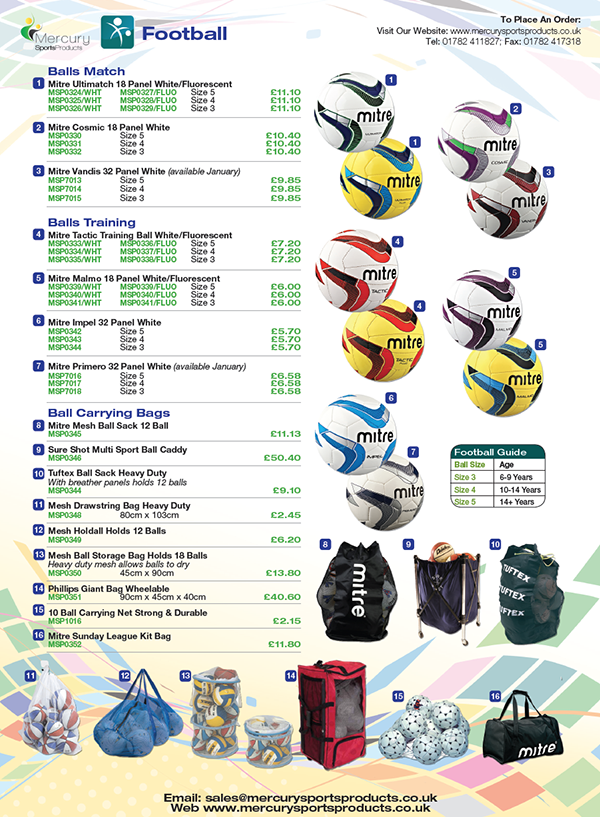 Mercury Sports Product's catalogue - inside shows football balls equipment
