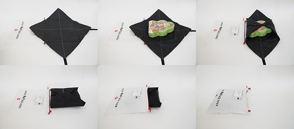 Image of RePack's inner cushioning and its simple wrap-around design.