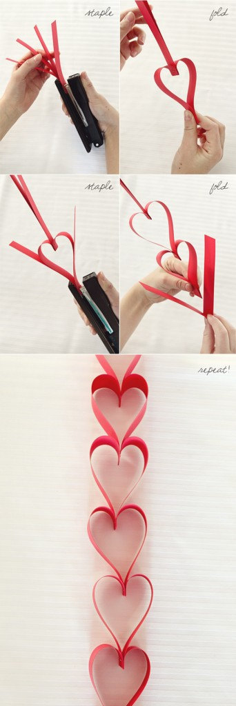 Red heart shaped paper garland for weddings