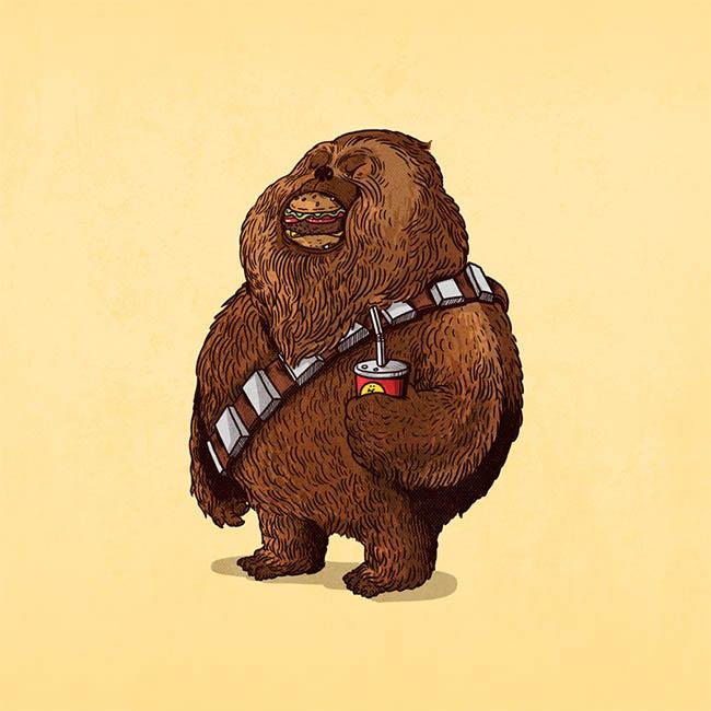 Graphic design sketch of a fat chewbacca.