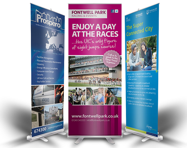 Solopress roller banners compliment exhibition stands.
