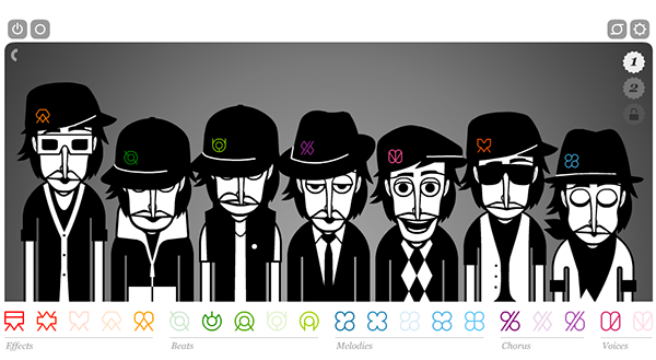 Screenshot taken from incredibox.com shows a list of animated male cartoons each wearing funky outfits and singing