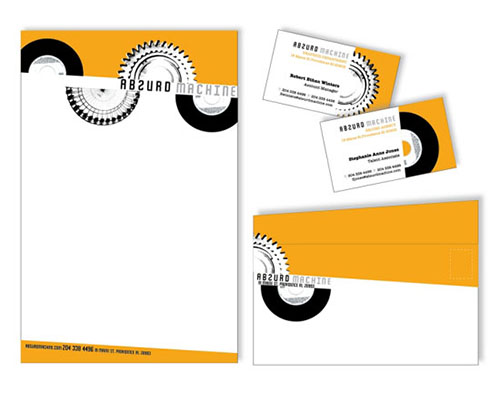 Letterhead for Absurd Machine designed by Jessica Benz