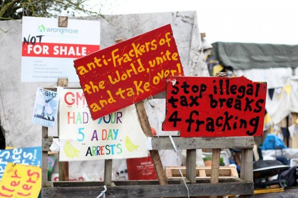 Bury Against Fracking protest posters and signs