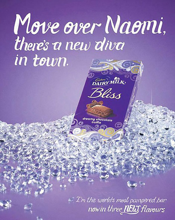 "Poster advertising Dairy Milk's bliss bar. Text reads, ""move over Naomi, there's a new diva in town."""