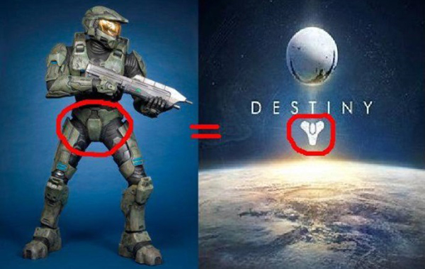 Funny comparison between the Destiny logo and a soldier's crotch