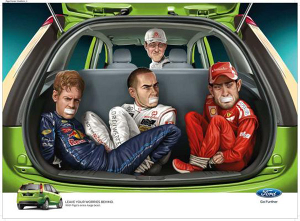Graphic art of a boot of the Ford Figo with Jenson Button, Lewis Hamilton tied in the boot