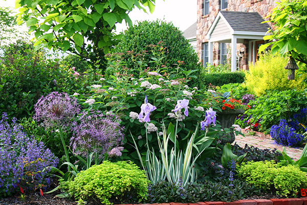 a beautiful front garden outside a stone house