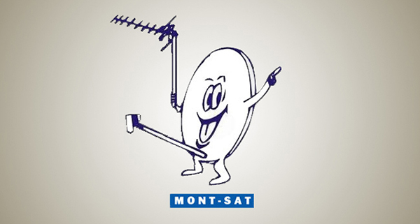 Mont Sat's logo shows a cheeky-looking satellite dish with a massive rod coming out of a peculiar place