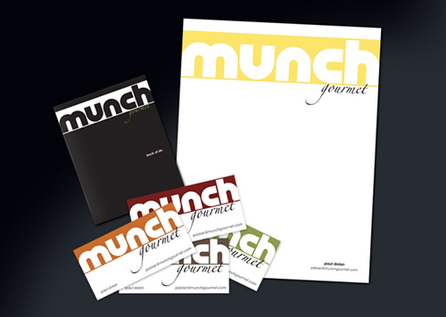 Munch Gourmet company letterhead and print