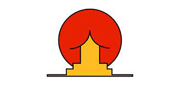 weird and very naughty logo by sun rise sushi has a rounded, dark red object supposed to be the sun behind a Japanese-style yellow house - however, it looks totally different