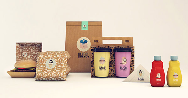 illegal burger creative and stylish burger packaging