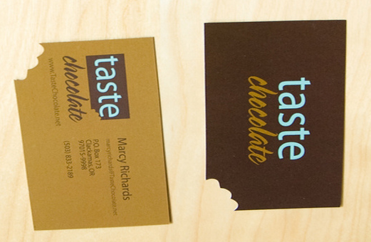 Custom design nibbled corners shaped business card for Taste Chocolate