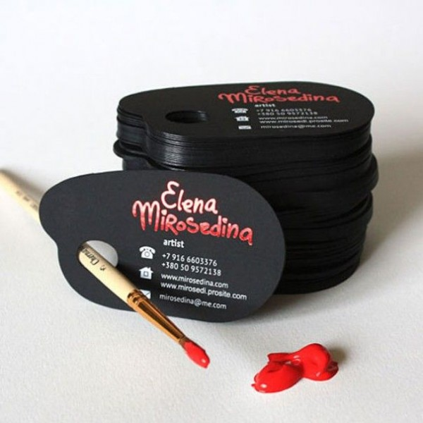 Paint pallet shaped custom designed business cards for the artist Elena Mirosedina